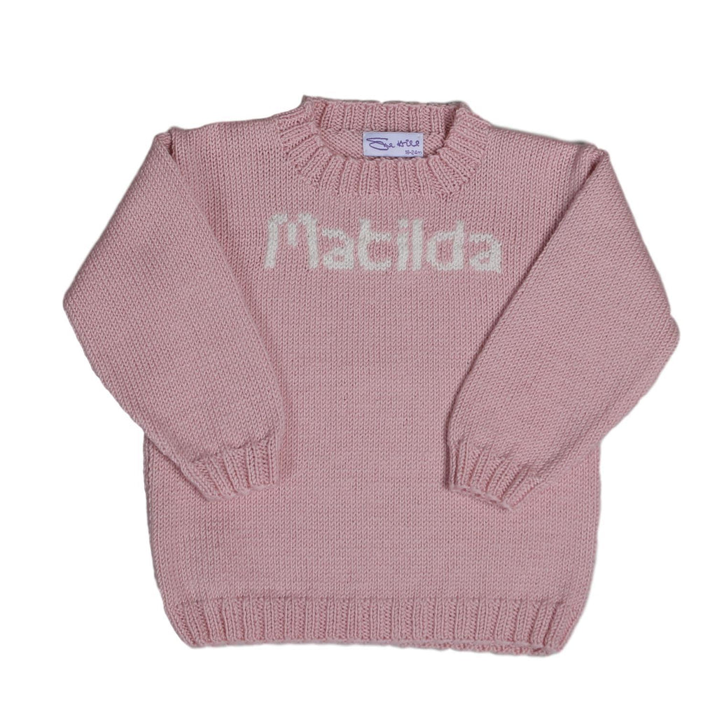 d4deb86fcbc Sue Hill girls personalised sweater pink