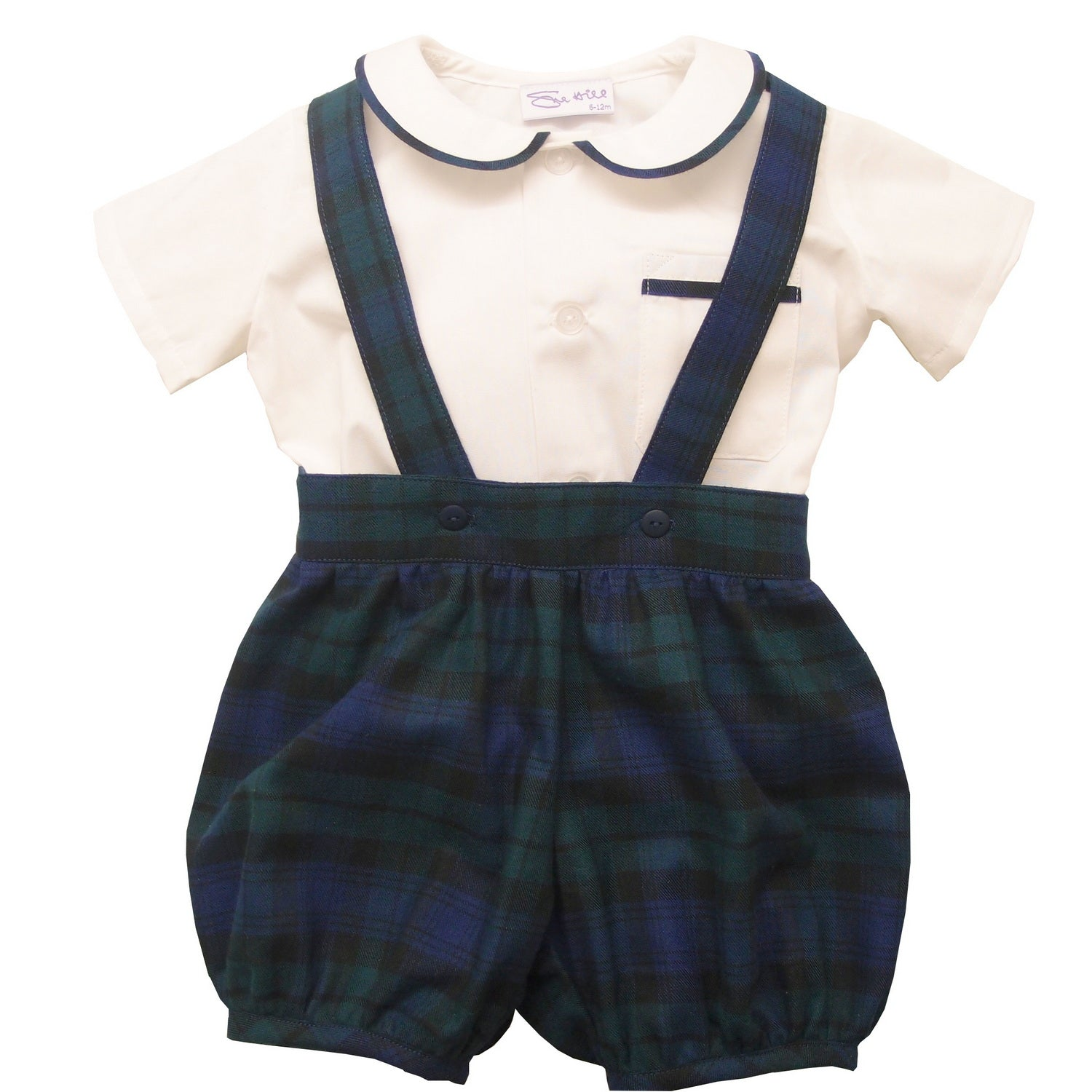 Sue Hill baby boy christening wedding romper pants and shirt set tartan