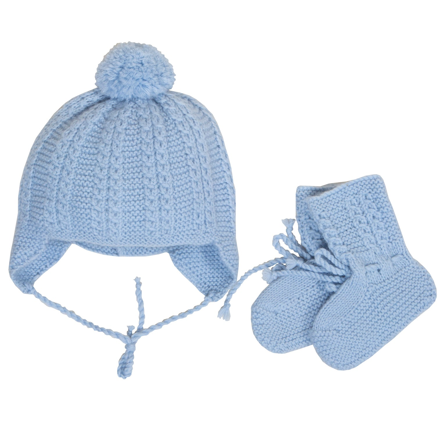 Sue Hill cable pompom flaphat & booties blue