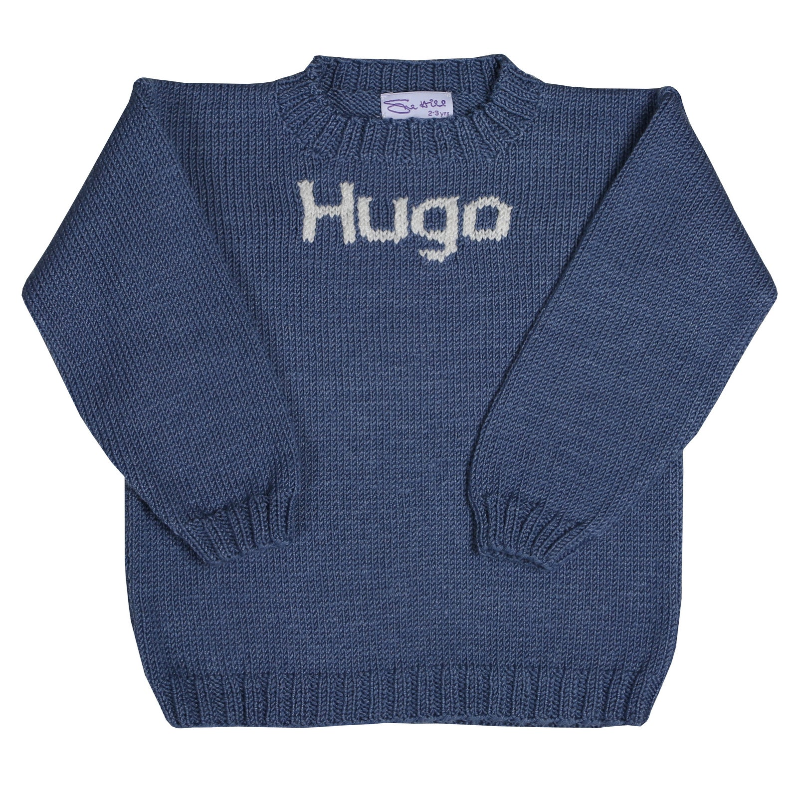 Sue Hill boys personalised sweater hand knitted