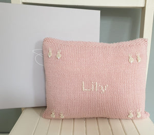 Personalised Bunnies Cushion Pale Pink