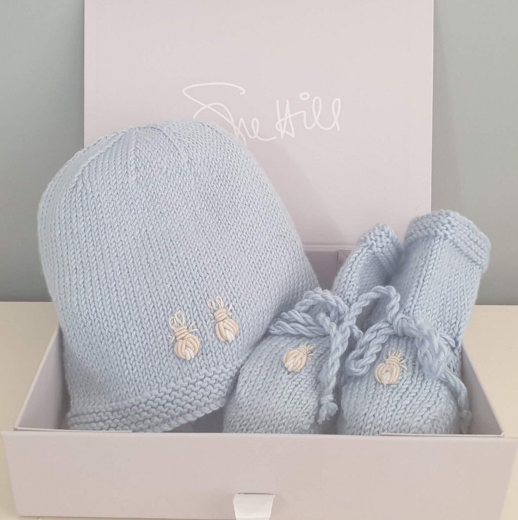 Bunnies Beanie Hat and Booties Blue