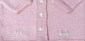 Personalised Bunnies Cardigan Pale Pink