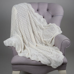 Sue Hill cashmere christening shawl baby blanket Chadwick ivory