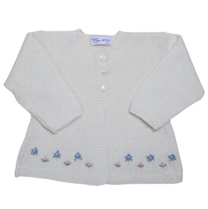 Sue Hill cashmere baby girl forget me not cardigan baby gift