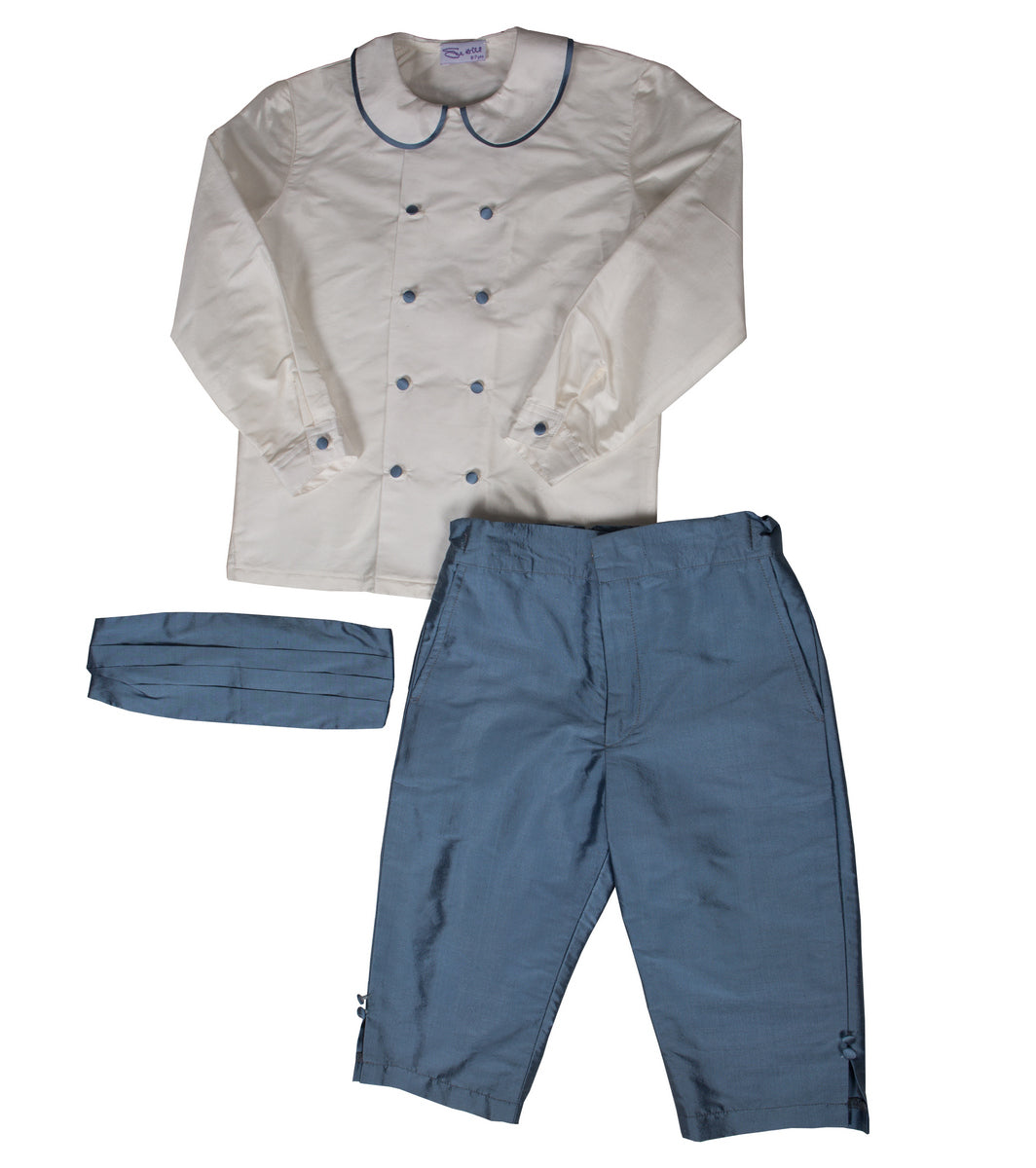 Sue Hill George silk page boy outfit shorts double breasted peter pan shirt