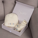 Sue Hill cashmere baby girl forget me not hat and booties baby gift set
