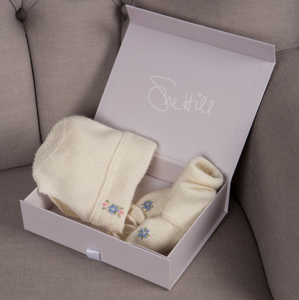 Cashmere Forget Me Not Bonnet & Booties Set