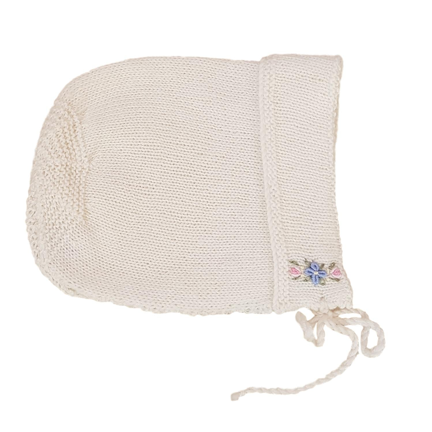 Sue Hill cashmere baby girl bonnet forget me not design