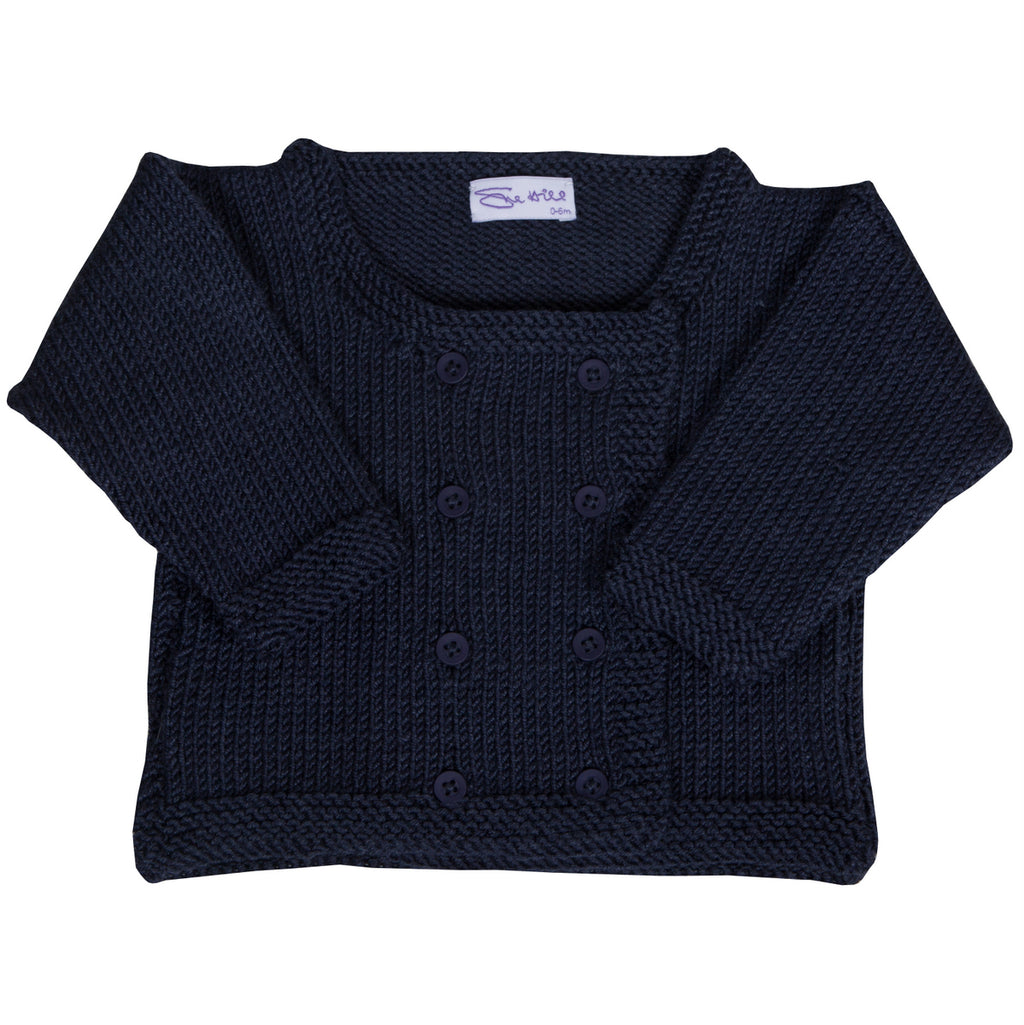 Sue Hill boys hand knitted navy cardigan jacket - George