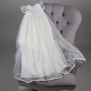 baby girl silk and tulle christening gown ivory Harriet