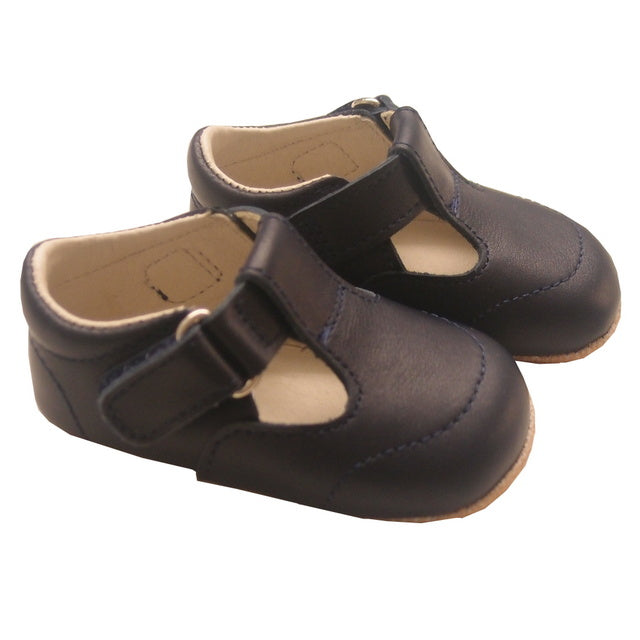 Navy Leather T Bar Pram Shoes