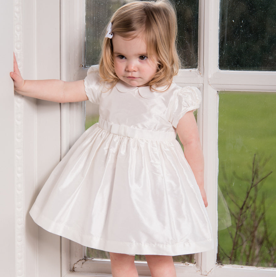 Sue Hill Isabelle baby girl silk christening toddler flower girl dress