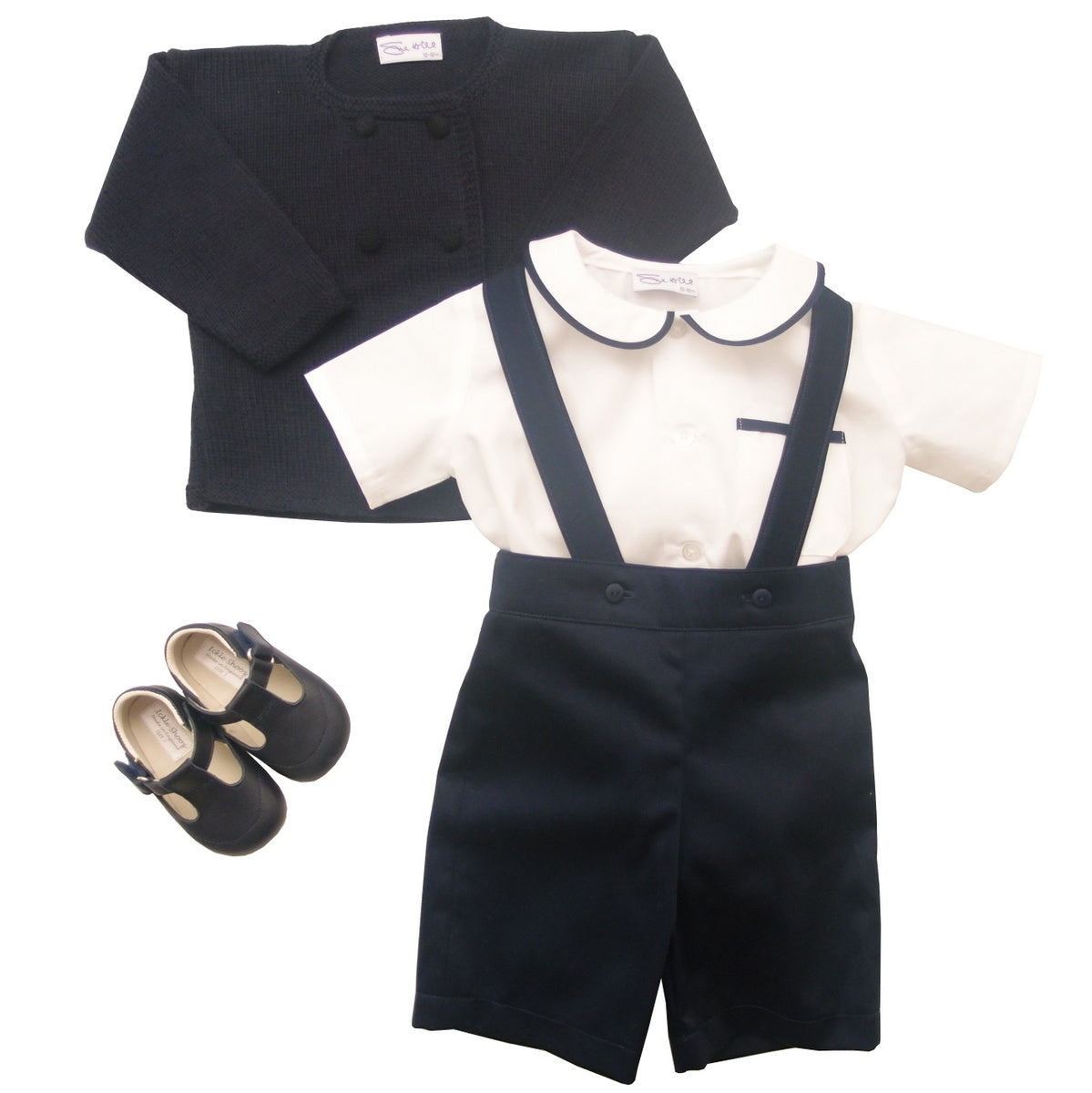 Sue Hill baby boy shirt onesie and romper shorts navy with cardigan and pram shoes