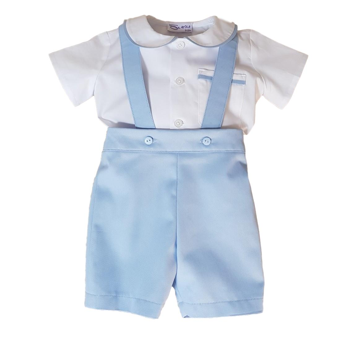 baby boy romper pants set James pale blue