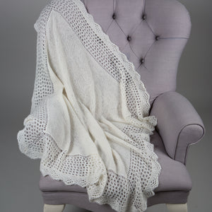 Sue Hill lacy edge cashmere christening shawl ivory