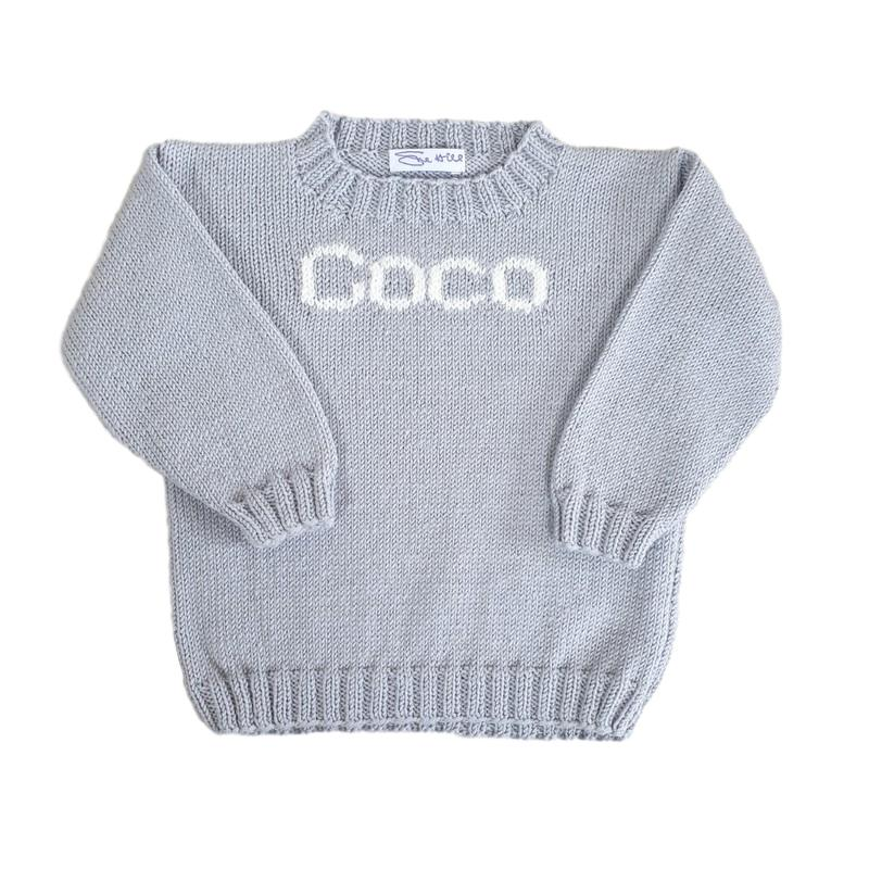 Girls Personalised Name Sweater Silver Grey