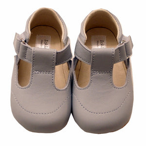 Pale Blue Leather T Bar Pram Shoes