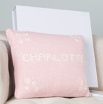 Sue Hill girls personalised cushion pink