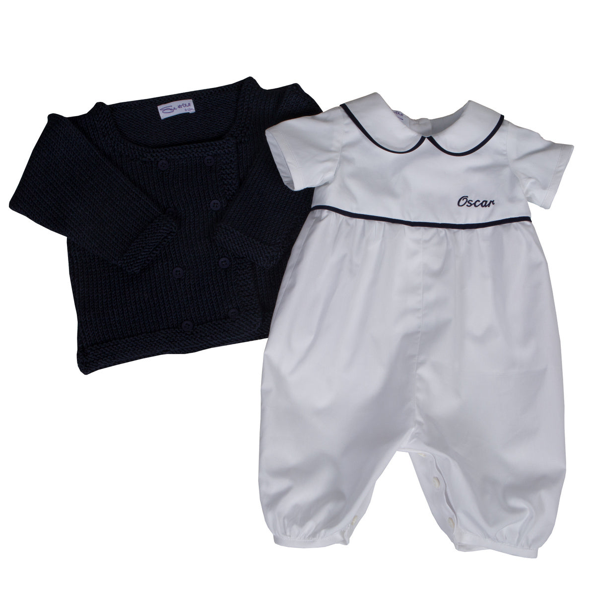 Sue Hill baby boy personalised christening romper and navy knitted George cardigan