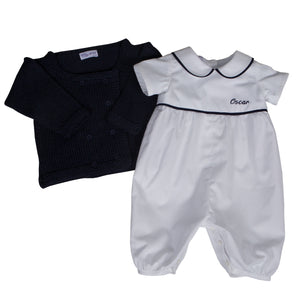 f3405f5ce5a6 Personalised Christening Romper   Cardigan Set White Navy – Sue Hill ...