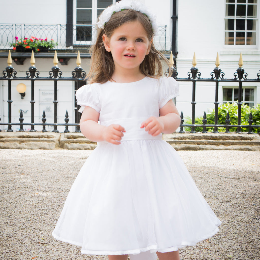 6f03f10eae1 Sue Hill cotton Sarah Tulle flower girl dress with puff sleeve