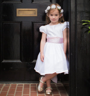 Sue Hill cotton Sarah Tulle flower girl dress with puff sleeve