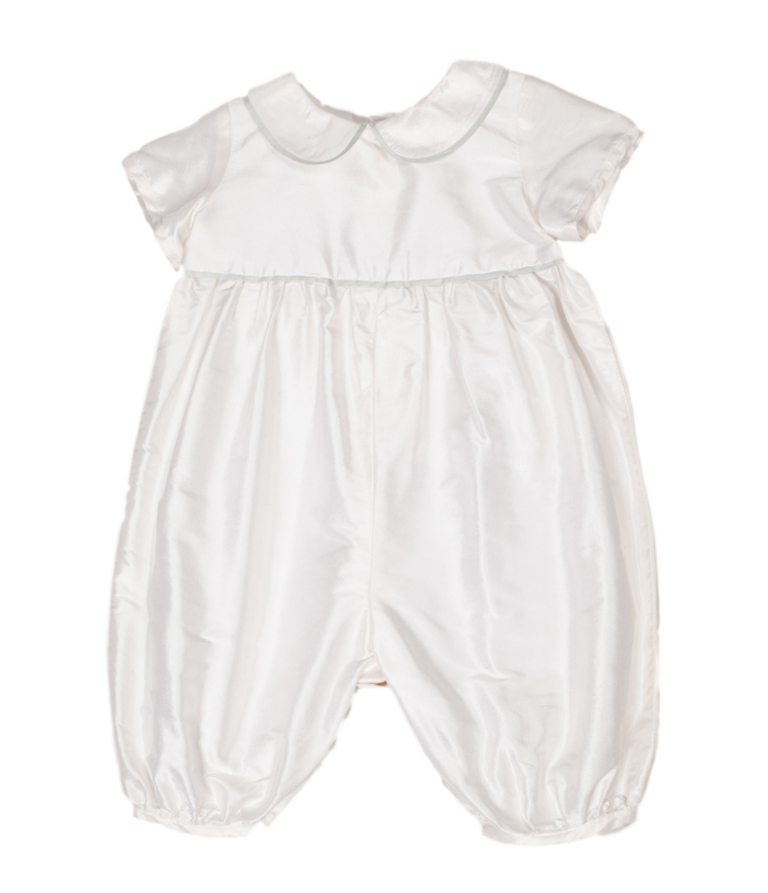 Sue Hill traditional silk christening romper
