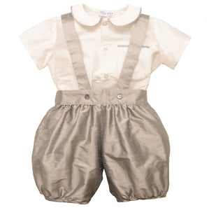 baby boy silk christening romper suit outfit grey William