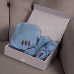 Sue Hill baby boy cashmere flaphat and booties gift set blue soldier