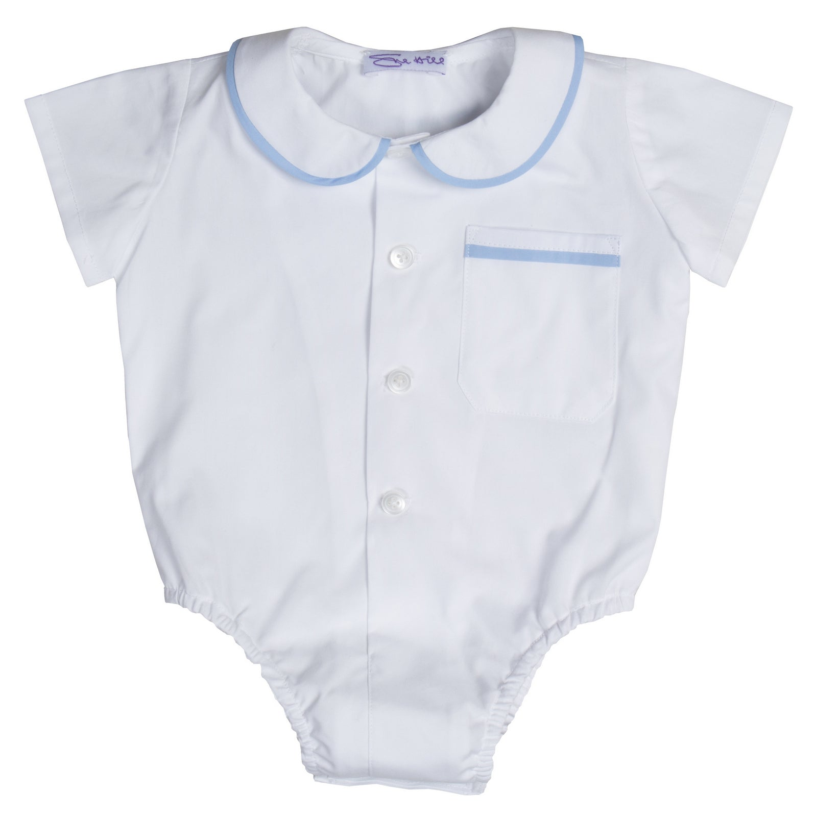 James Shirt & Romper Shorts White/Pale Blue Cotton