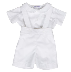 Sue hill baby boy shirt and romper shorts white - James