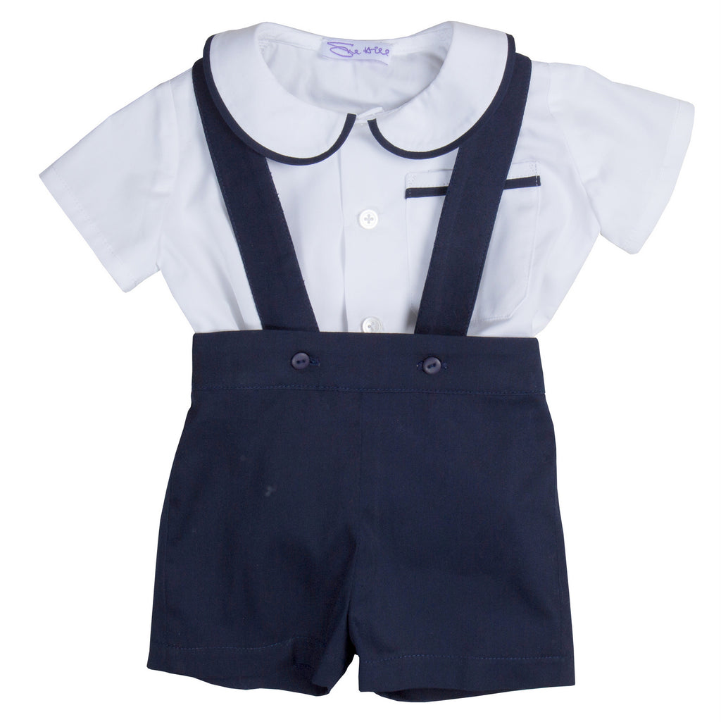 Sue Hill baby boy shirt and romper shorts navy - James
