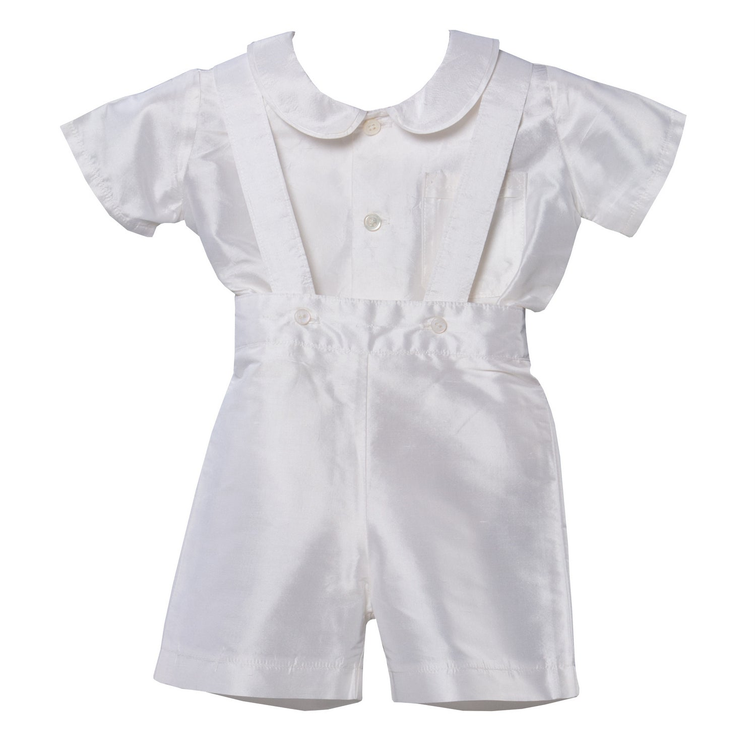 James Silk Baptism Shirt & Romper Shorts White