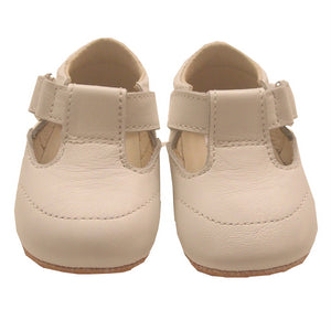 White Leather T Bar Pram Shoes