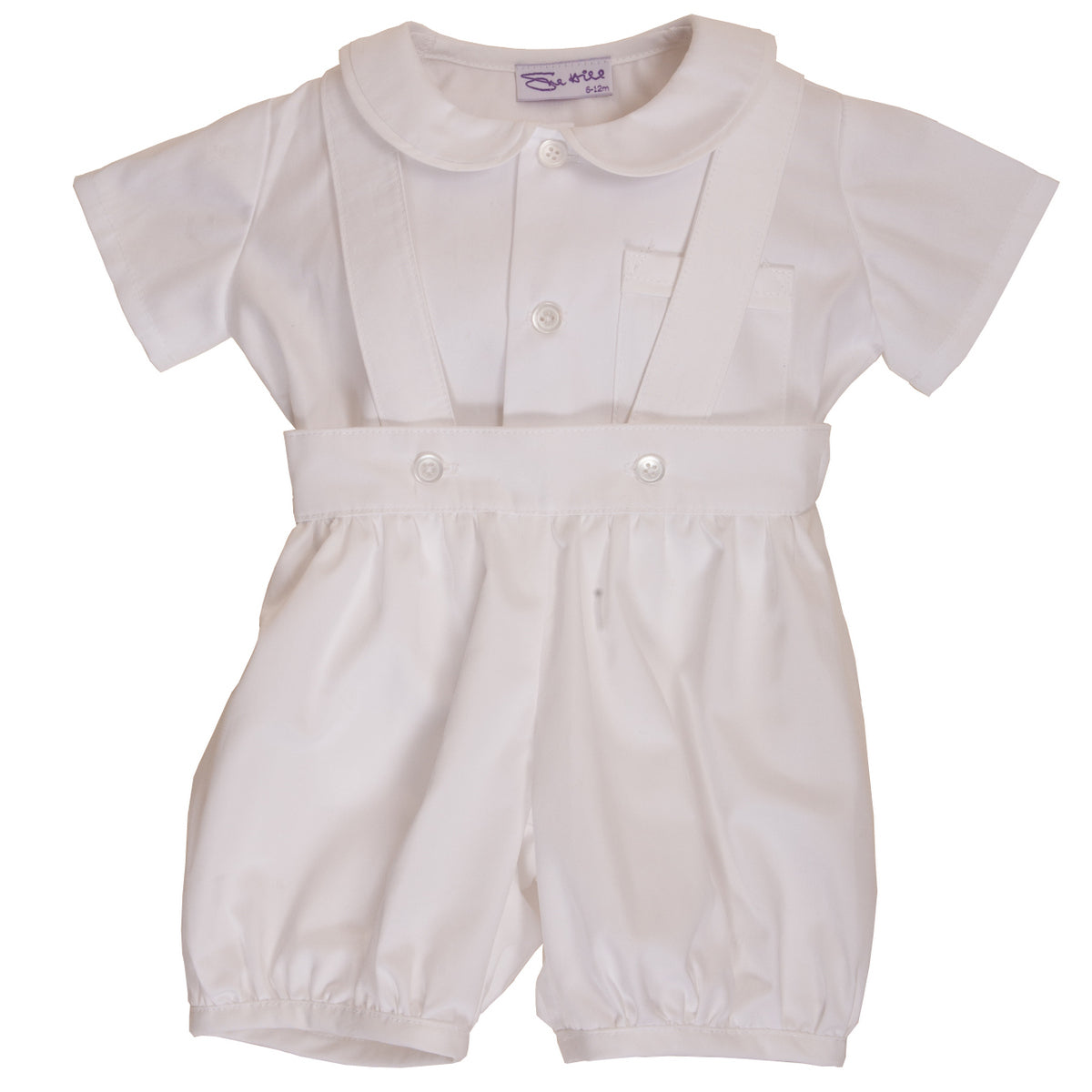 Sue Hill baby  boy christening baptism romper set white