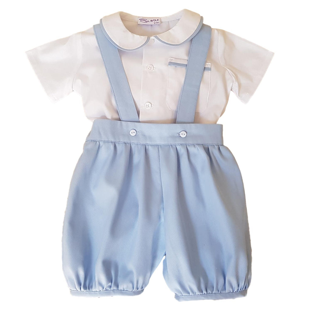 William Shirt & Romper Pants White/Pale Blue Cotton