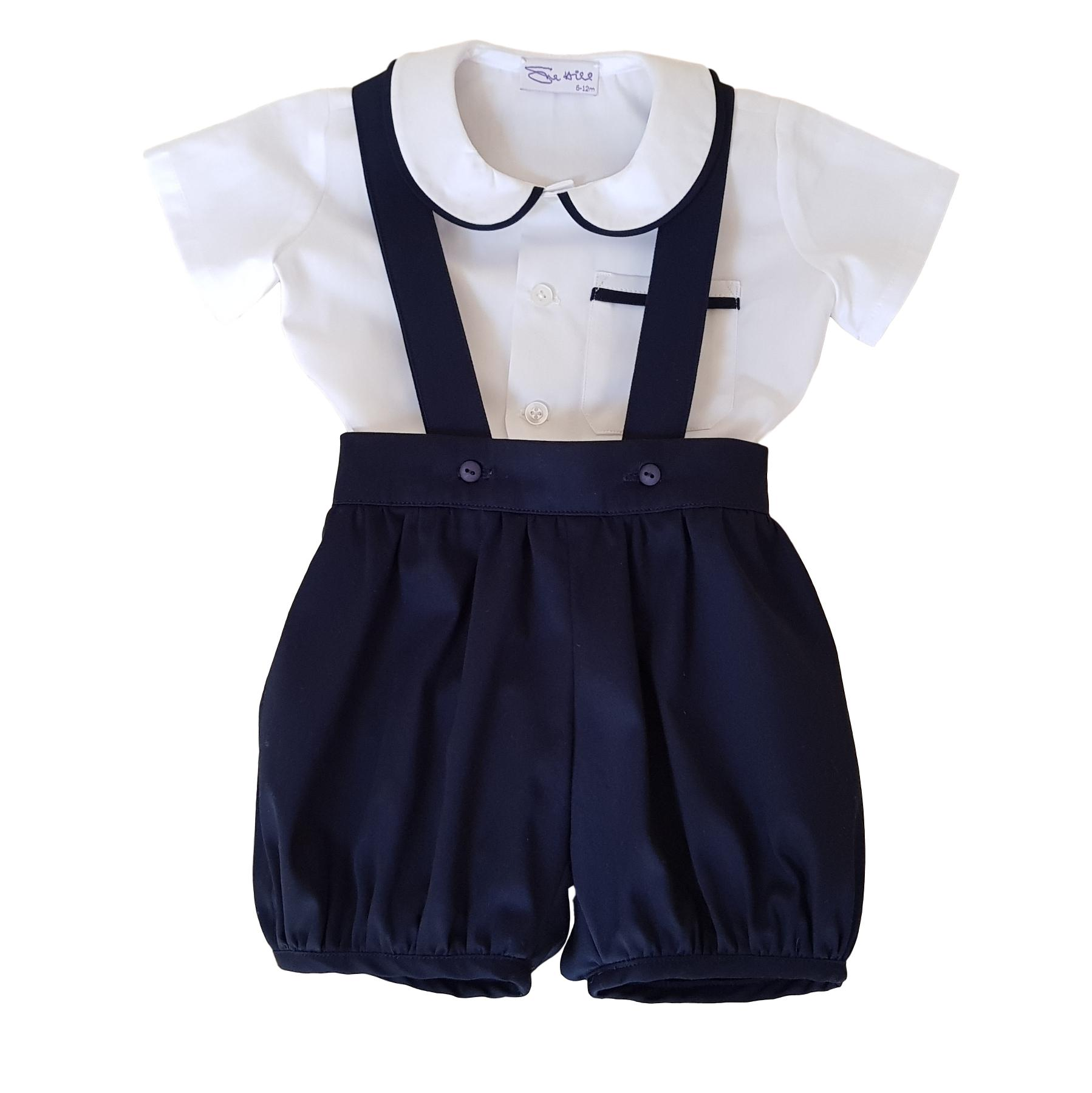 William Shirt & Romper Pants White/Navy Cotton