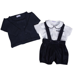Sue Hill baby boy shirt, romper pants and cardigan navy - William