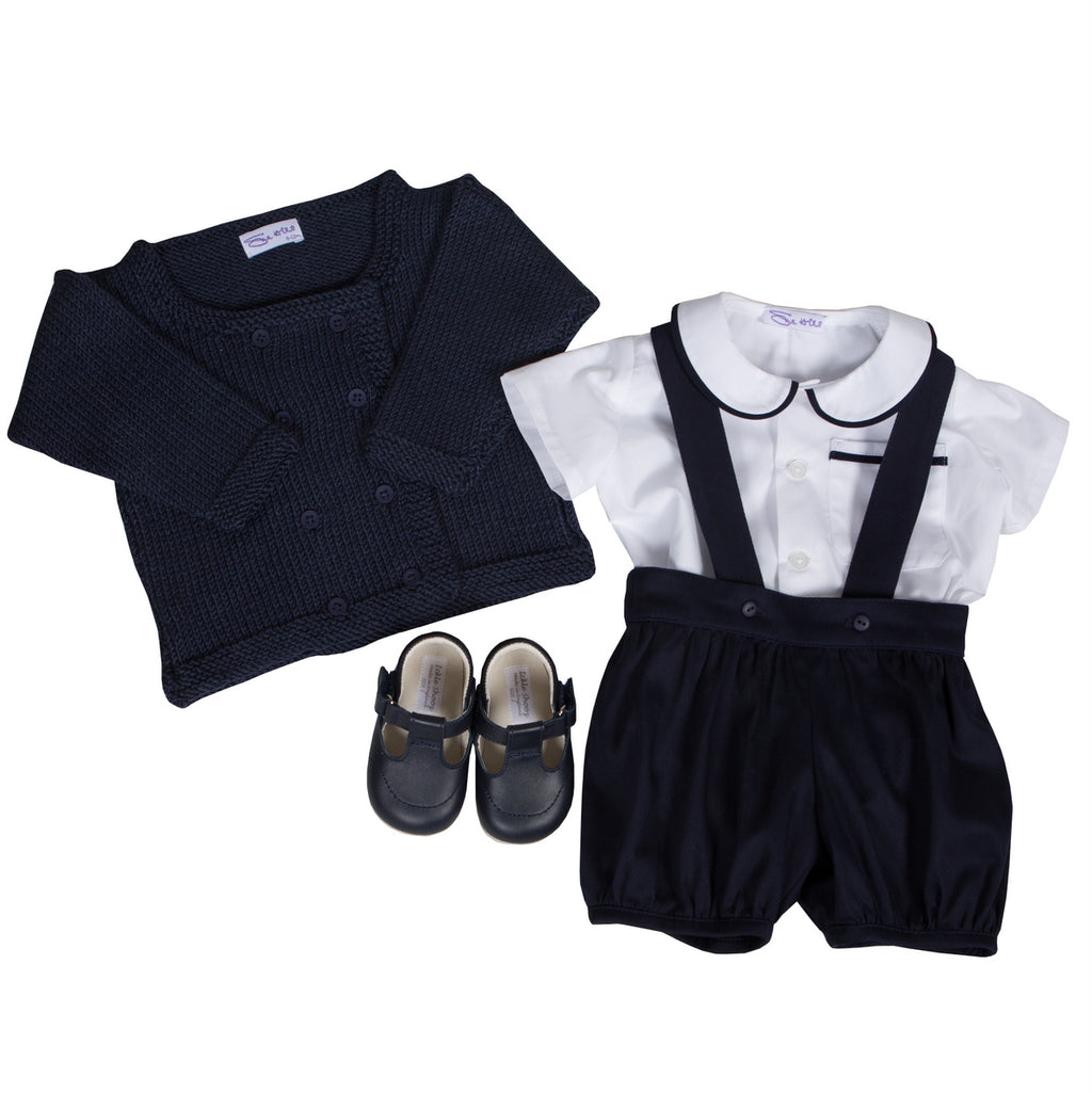 Sue Hill baby boy shirt and romper pants navy - William