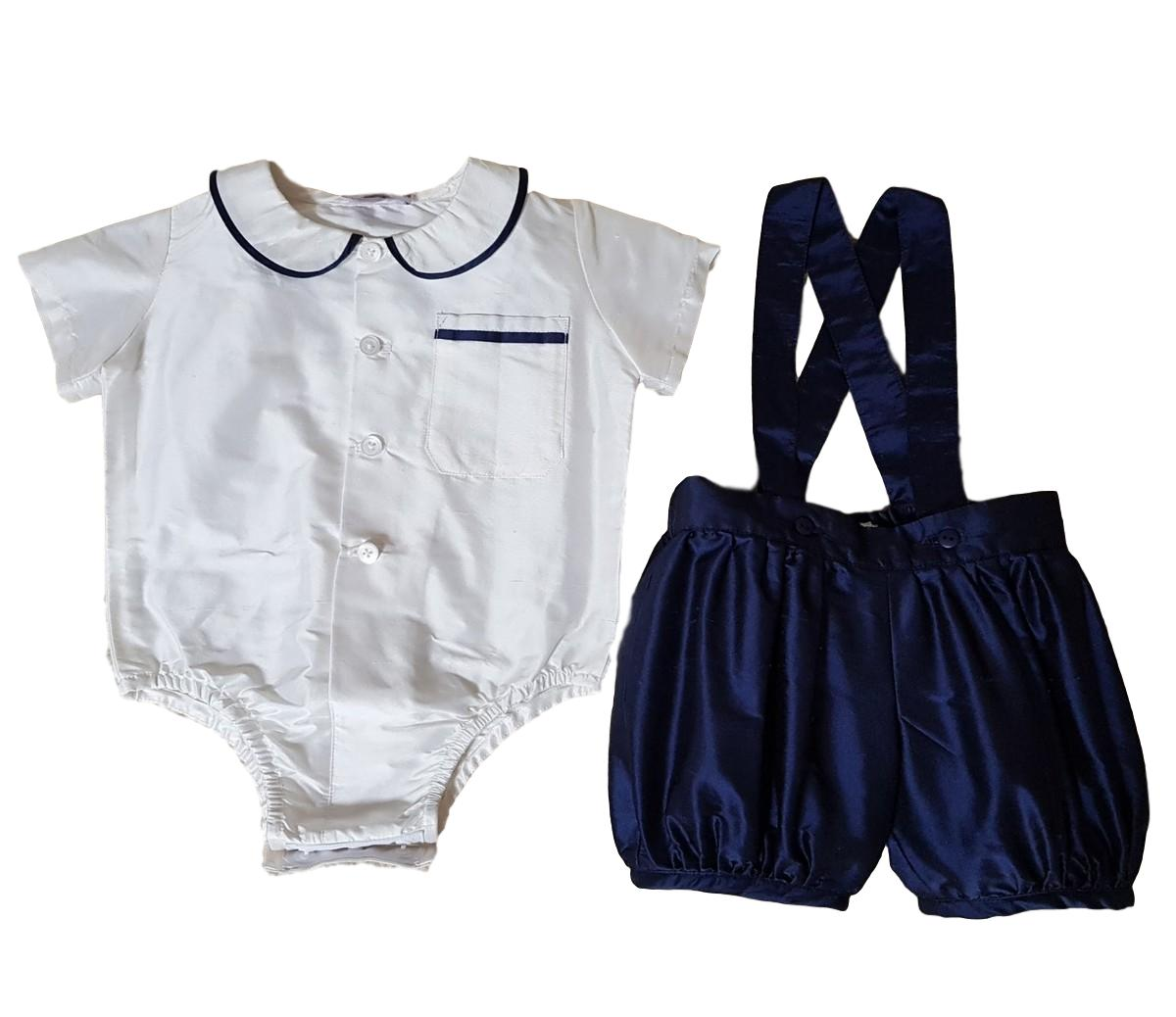 Silk William Shirt & Romper Pants Set Navy