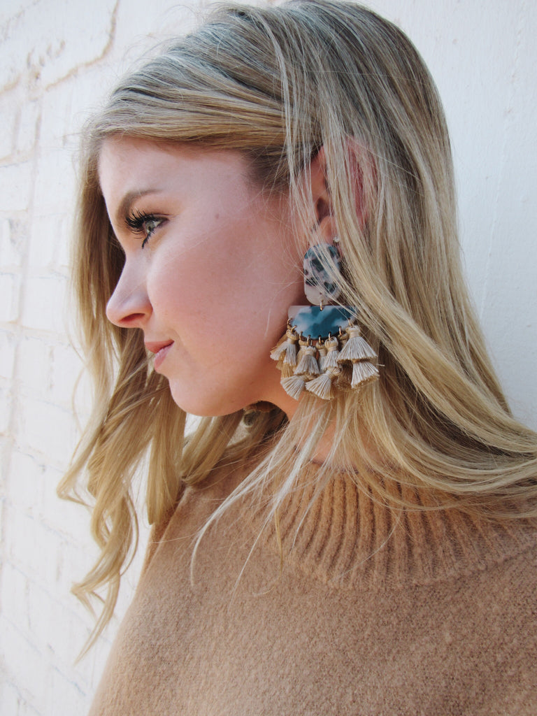 Tassel Earrings - Camel
