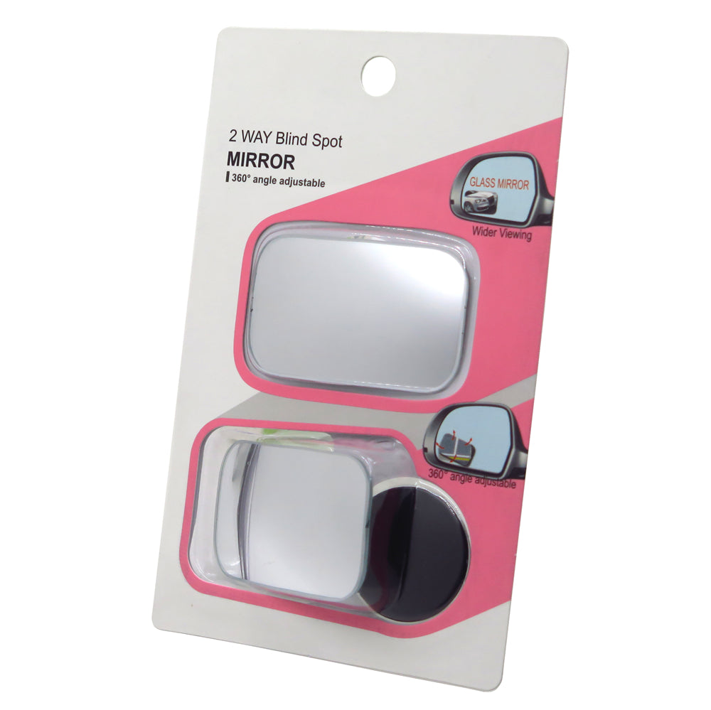 HTTMT- 2 Pack Car Blind Spot Side Mirror Stick On Glass Adjustable Safety Lens Mirror