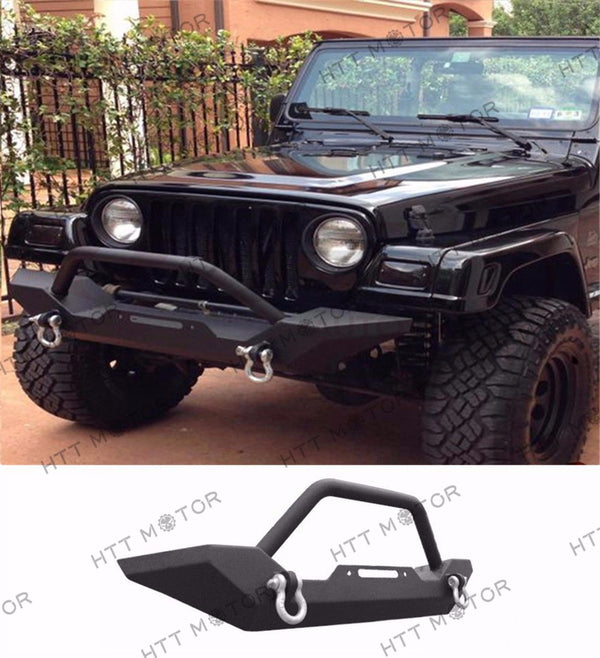 HTTMT- 87-06 Jeep Wrangler TJ YJ Rock Crawler Guard Front Bumper Winch D-Ring Textured