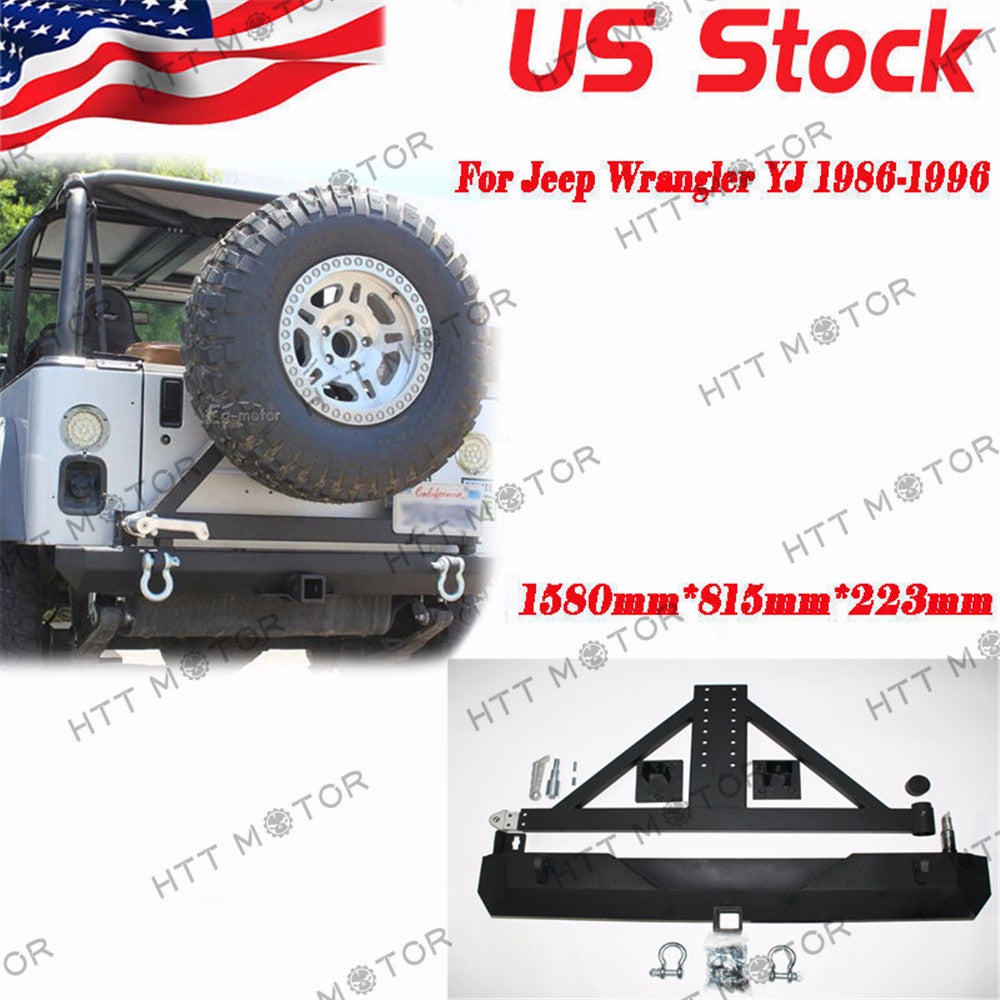 HTTMT- For 87-06 Jeep Wrangler YJ TJ Rock Crawler Rear Bumper Tire Carrier Swing&D-RING