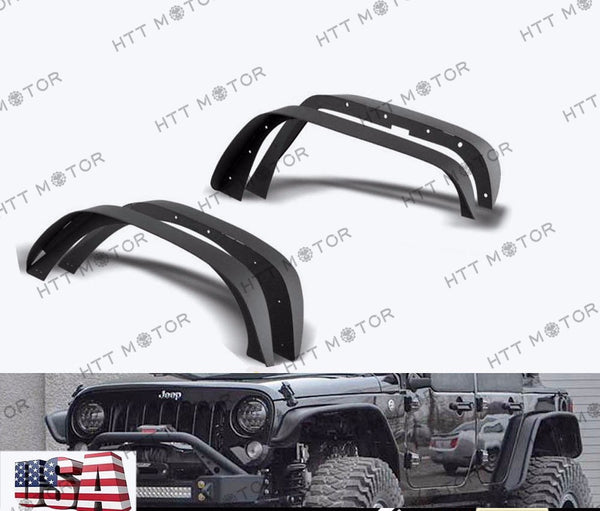 HTTMT- Stubby Rock Crawler Front+Rear Metal Fender Flares fit 07-17 Jeep JK Wrangler