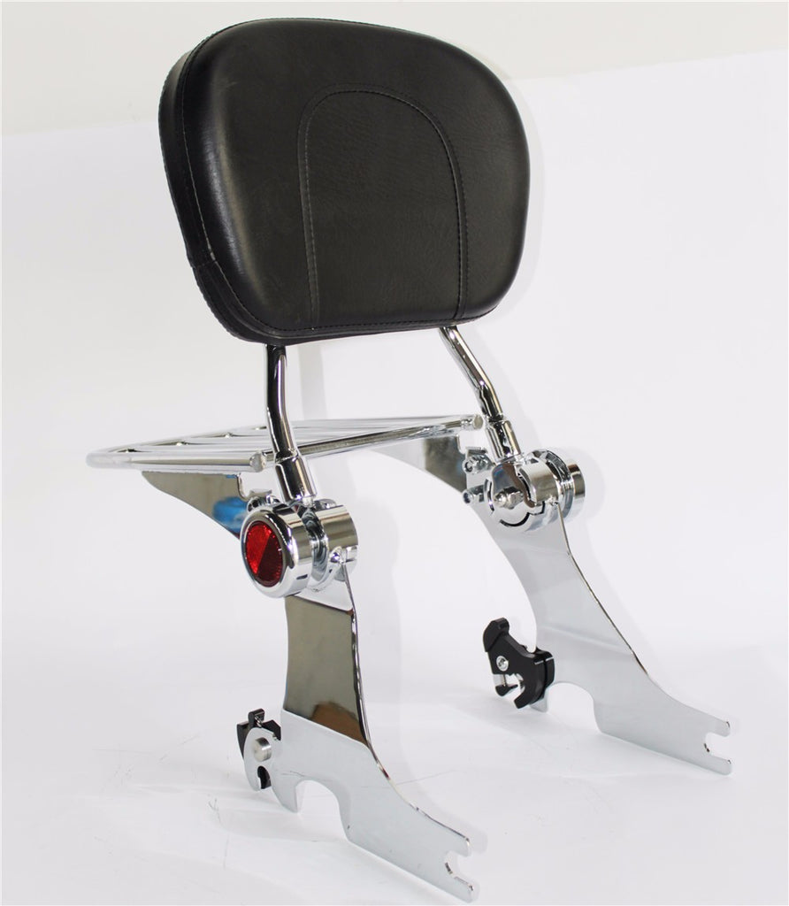 HTTMT- Chrome Backrest Sissy Bar Luggage Rack For Harley Sportster 94-03 Adjustable