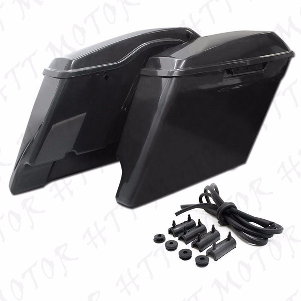 Motorcycle Extended Stretched Saddlebag For Harley Touring FLHT FLHTCU 2014-UP