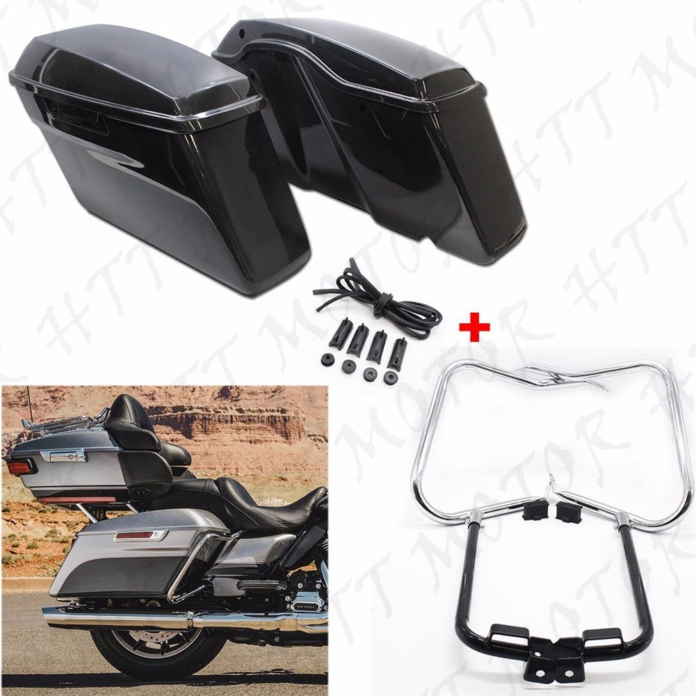 Unpainted Saddlebags w/ Chrome Bracket Guard Bars For 2014-2016 Harley Touring