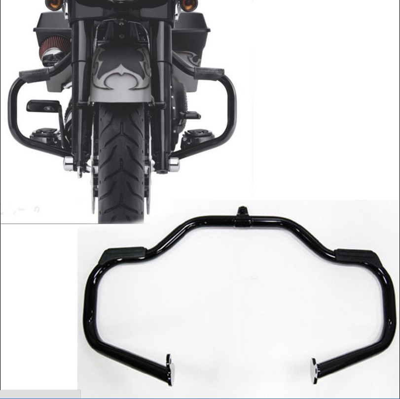 HTT Black Highway Rail Engine Guard Crash Bar For Harley Davidson Touring 2009-2017